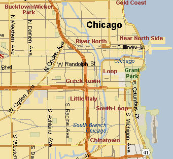 Map of Chicago's Loop, Near North Side, Near West Side and Near South Side