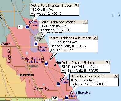 Highland Park Metra Stations