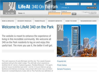 LifeAt 340 on the Park home page
