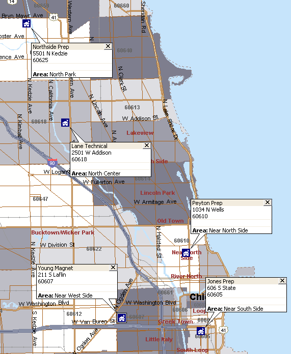 Chicago S Top High Schools And Their Locations Chicago