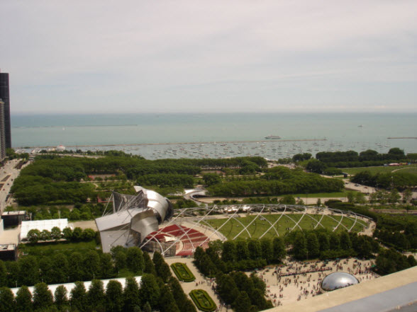 View of Millennium Park & Lake Michigan from 130 N Garland Ct Common Terrace