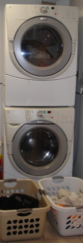 Washers and dryers are often stacked in condos & co-op apartments