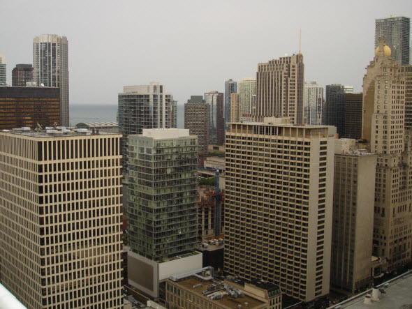 View of city and Lake Michigan from the balcony of 55 E Erie 3504