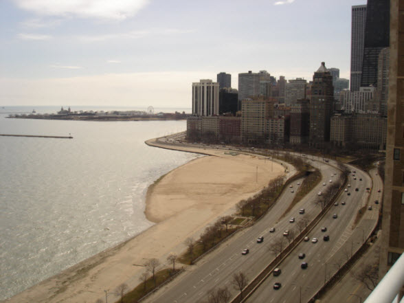 Southeast view from 1300 N Lake Shore Drive (winter)