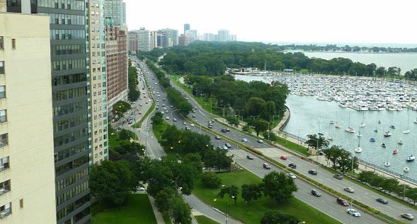 Condos Along Lake Shore Drive in Chicago's Lakeview Neighborhood Photo