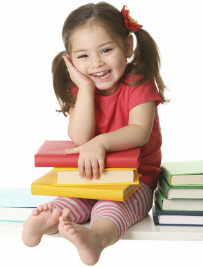 young girl with books